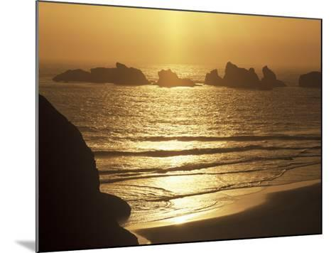 Offshore Seastacks and Sunset, Bandon Beach State Park, Oregon, USA-Adam Jones-Mounted Photographic Print