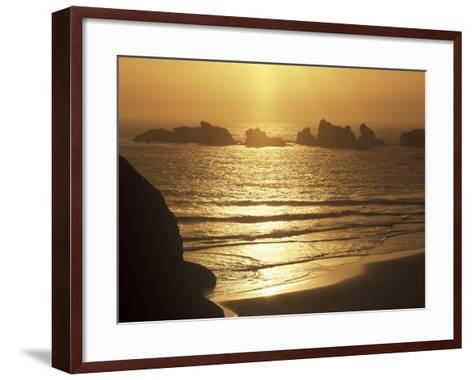 Offshore Seastacks and Sunset, Bandon Beach State Park, Oregon, USA-Adam Jones-Framed Art Print