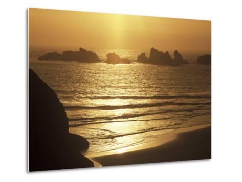 Offshore Seastacks and Sunset, Bandon Beach State Park, Oregon, USA-Adam Jones-Metal Print