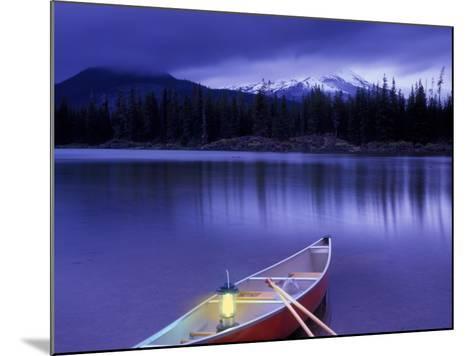 Canoe and Lantern on Banks of Sparks Lake, Cascade Range, Oregon, USA-Janis Miglavs-Mounted Photographic Print