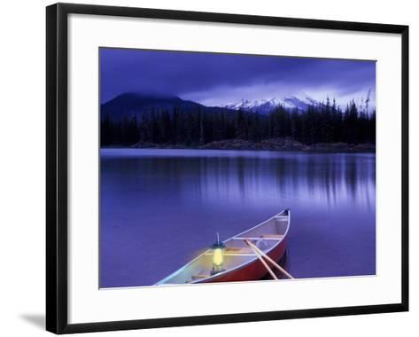 Canoe and Lantern on Banks of Sparks Lake, Cascade Range, Oregon, USA-Janis Miglavs-Framed Art Print