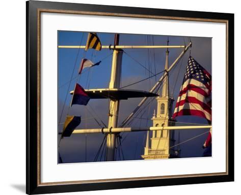 Trinity Church Behind Flags at Bowen's Wharf, Newport, Rhode Island, USA-Alexander Nesbitt-Framed Art Print