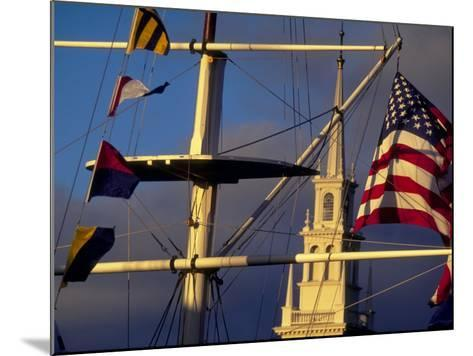 Trinity Church Behind Flags at Bowen's Wharf, Newport, Rhode Island, USA-Alexander Nesbitt-Mounted Photographic Print