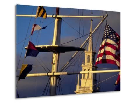 Trinity Church Behind Flags at Bowen's Wharf, Newport, Rhode Island, USA-Alexander Nesbitt-Metal Print
