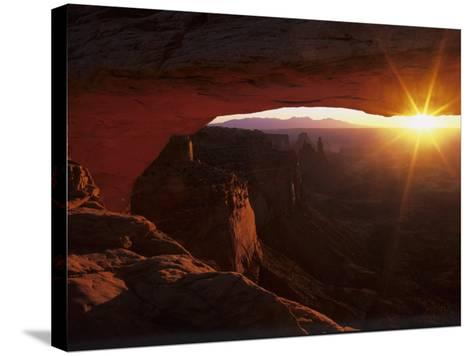 Sunrise in the Desert, Mesa Arch, Island in the Sky, Canyonlands National Park, Utah, USA-Jerry Ginsberg-Stretched Canvas Print