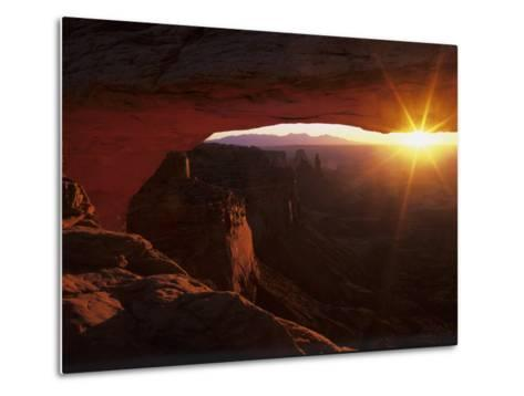 Sunrise in the Desert, Mesa Arch, Island in the Sky, Canyonlands National Park, Utah, USA-Jerry Ginsberg-Metal Print