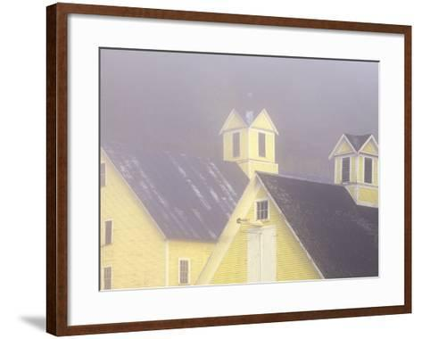 Foggy Morning and Yellow Barn near White River Junction, Vermont, USA-Darrell Gulin-Framed Art Print