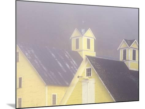 Foggy Morning and Yellow Barn near White River Junction, Vermont, USA-Darrell Gulin-Mounted Photographic Print