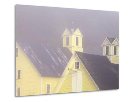 Foggy Morning and Yellow Barn near White River Junction, Vermont, USA-Darrell Gulin-Metal Print