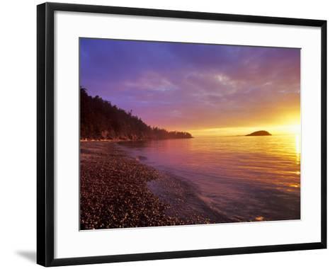 Sunset at North Beach at Deception Pass State Park, Washington, USA-Chuck Haney-Framed Art Print