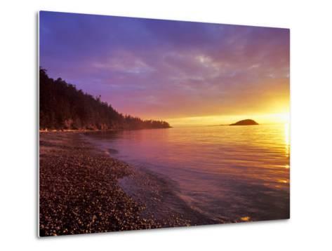 Sunset at North Beach at Deception Pass State Park, Washington, USA-Chuck Haney-Metal Print