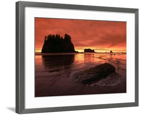 Sunset on Sea Stacks of Second Beach, Olympic National Park, Washington, USA-Jerry Ginsberg-Framed Art Print