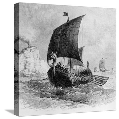 The Danish Ship Called the Raven, Viking Ship, Pre-800 AD--Stretched Canvas Print