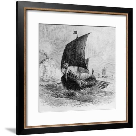 The Danish Ship Called the Raven, Viking Ship, Pre-800 AD--Framed Art Print