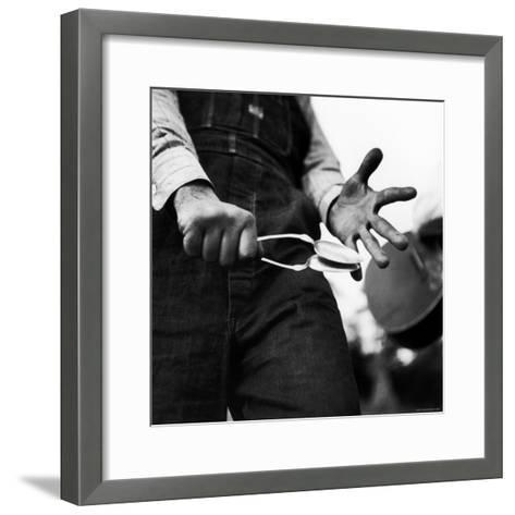 Country Music: Close Up of Spoons Being Played by Man in Overalls-Eric Schaal-Framed Art Print