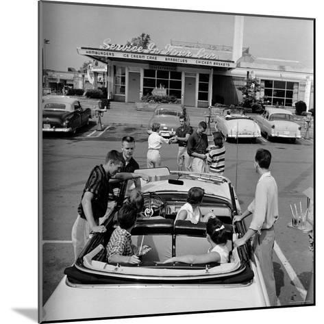 Teenagers Hanging Out at the Local Drive In-Hank Walker-Mounted Photographic Print