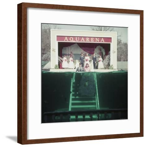 Couple Getting Married Underwater at Aquarena-John Dominis-Framed Art Print