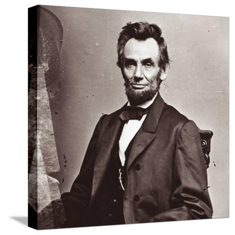 President Abraham Lincoln's Second Inauguration, Wearing a Coat Crafted For Him by Brooks Brothers-Mathew Brady-Stretched Canvas Print