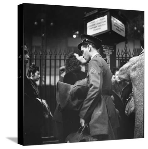 Couple in Penn Station Sharing Farewell Kiss Before He Ships Off to War During WWII-Alfred Eisenstaedt-Stretched Canvas Print