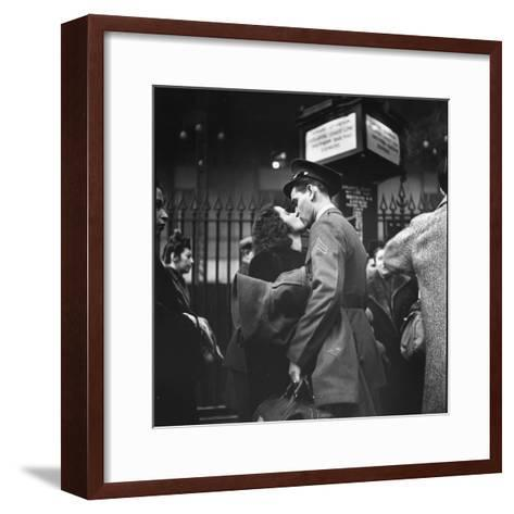 Couple in Penn Station Sharing Farewell Kiss Before He Ships Off to War During WWII-Alfred Eisenstaedt-Framed Art Print