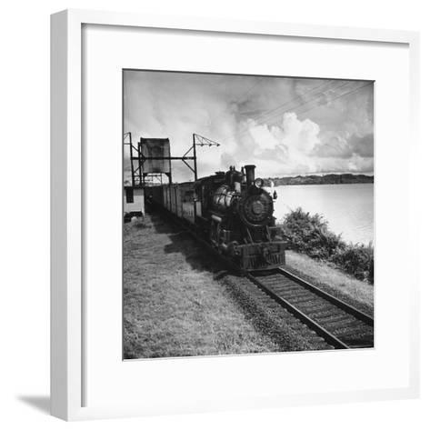 Railroad Train Following Tracks Beside Panama Canal Photographic ...