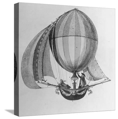 Eighteenth Century Drawing of Hot Air Balloon Steered by Sails--Stretched Canvas Print