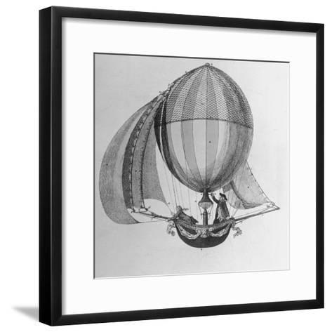 Eighteenth Century Drawing of Hot Air Balloon Steered by Sails--Framed Art Print