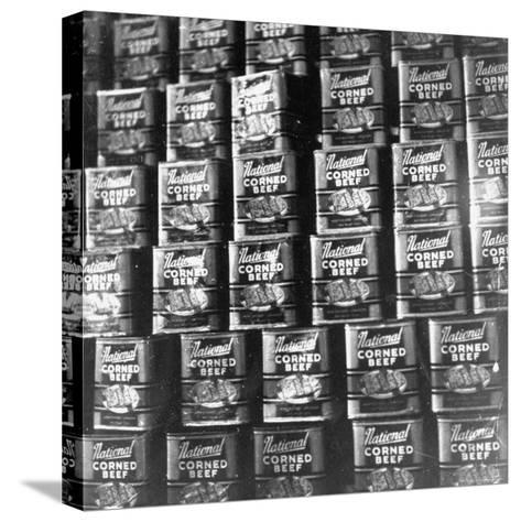 Canned Corn Beef Waiting to Be Exported-Hart Preston-Stretched Canvas Print
