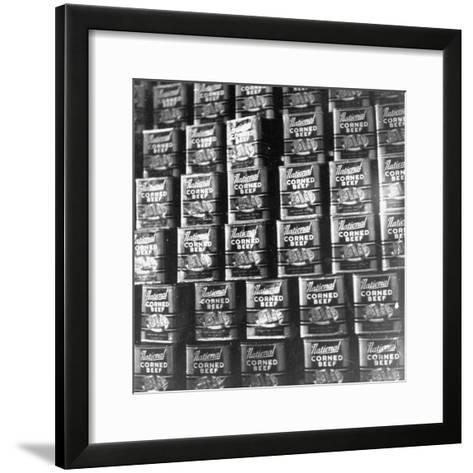 Canned Corn Beef Waiting to Be Exported-Hart Preston-Framed Art Print
