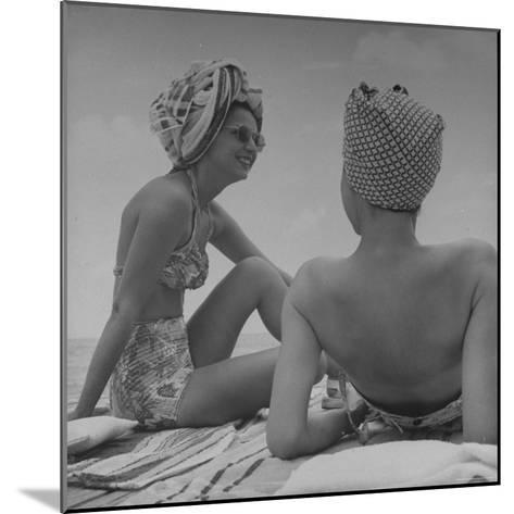 Wives of Men in the Us Army and Navy Relaxing in the Sun-Peter Stackpole-Mounted Photographic Print