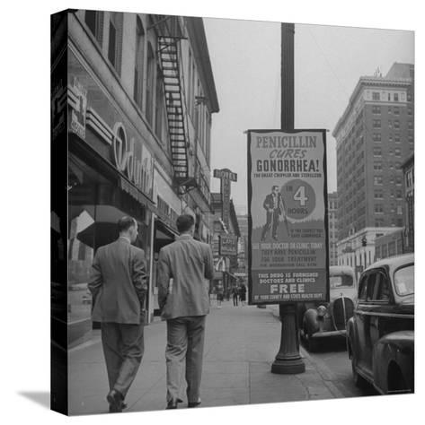 Sign Advertising Penicillin as Treatment For Gonorrhea-Sam Shere-Stretched Canvas Print