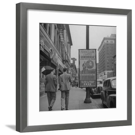 Sign Advertising Penicillin as Treatment For Gonorrhea-Sam Shere-Framed Art Print