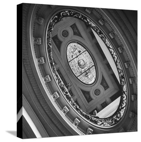 View of a Gorgeous Stained Glass Window in the Ceiling-Ralph Morse-Stretched Canvas Print