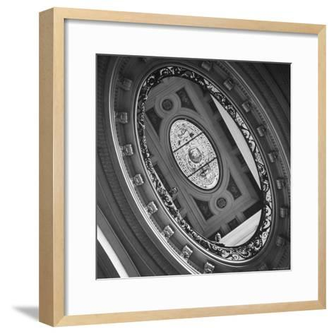 View of a Gorgeous Stained Glass Window in the Ceiling-Ralph Morse-Framed Art Print