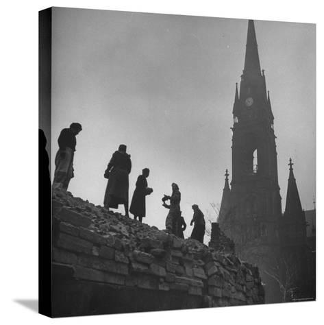 Sunday Volunteer Workers Working in the Martin Luther Platz-William Vandivert-Stretched Canvas Print