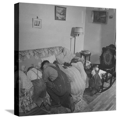 Charles C. Todd and His Family, Praying in the Morning Before Breakfast-Wallace Kirkland-Stretched Canvas Print