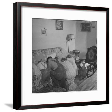 Charles C. Todd and His Family, Praying in the Morning Before Breakfast-Wallace Kirkland-Framed Art Print