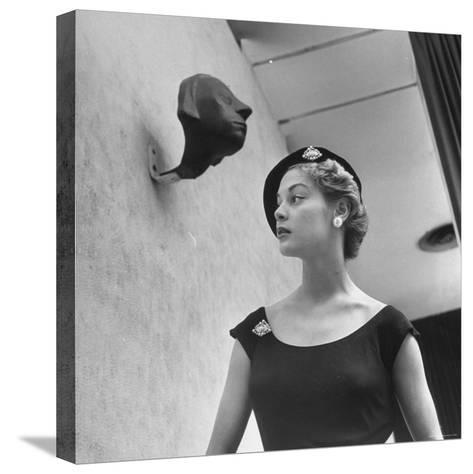 Model Jean Patchett Modeling Huge Woolworth Earrings, Pearls, and Rhinestone Clips-Nina Leen-Stretched Canvas Print