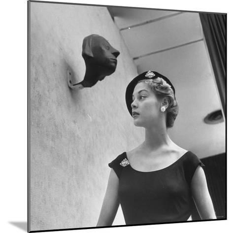 Model Jean Patchett Modeling Huge Woolworth Earrings, Pearls, and Rhinestone Clips-Nina Leen-Mounted Photographic Print