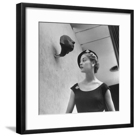 Model Jean Patchett Modeling Huge Woolworth Earrings, Pearls, and Rhinestone Clips-Nina Leen-Framed Art Print