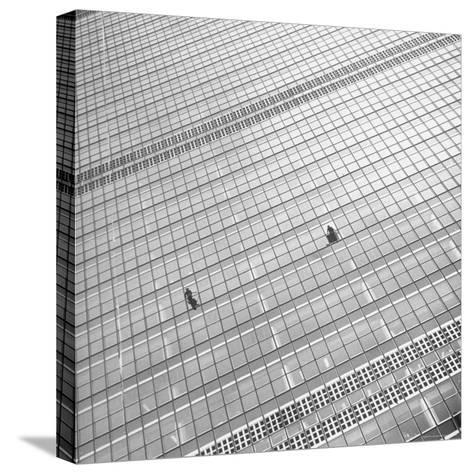 Window Cleaners Cleaning Windows High Up on the United Nations Building-Andreas Feininger-Stretched Canvas Print