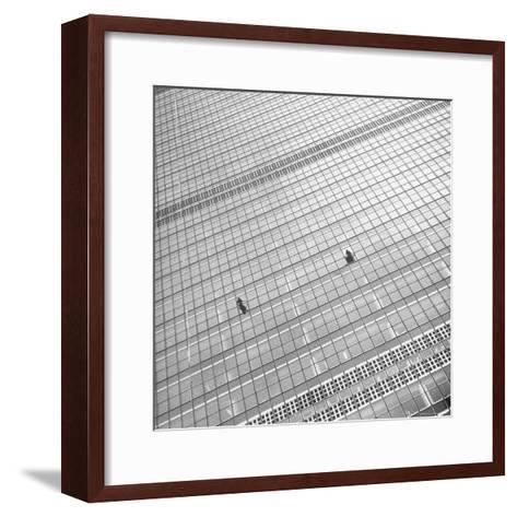 Window Cleaners Cleaning Windows High Up on the United Nations Building-Andreas Feininger-Framed Art Print