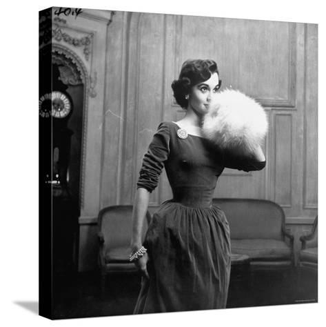 Woman Modeling a Party Dress-Nina Leen-Stretched Canvas Print