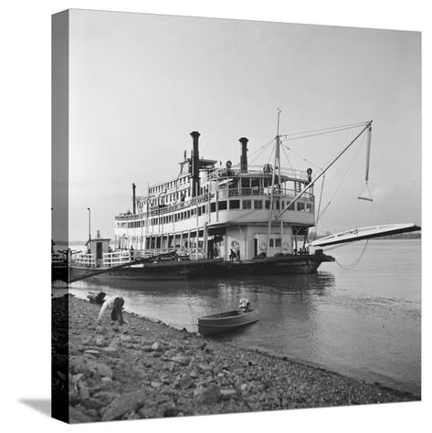 Ohio River Boat Moored at Dock on the Ohio River-Walker Evans-Stretched Canvas Print