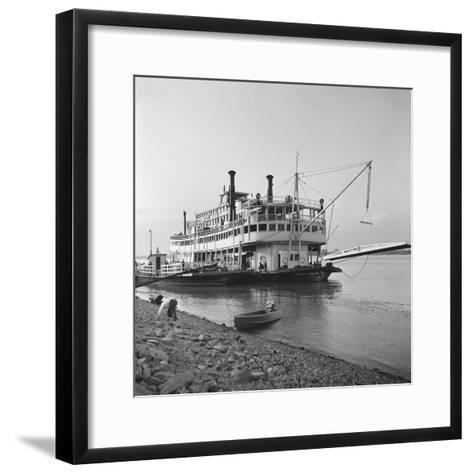 Ohio River Boat Moored at Dock on the Ohio River-Walker Evans-Framed Art Print
