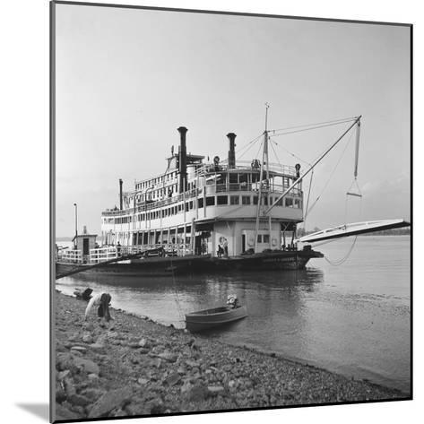 Ohio River Boat Moored at Dock on the Ohio River-Walker Evans-Mounted Photographic Print