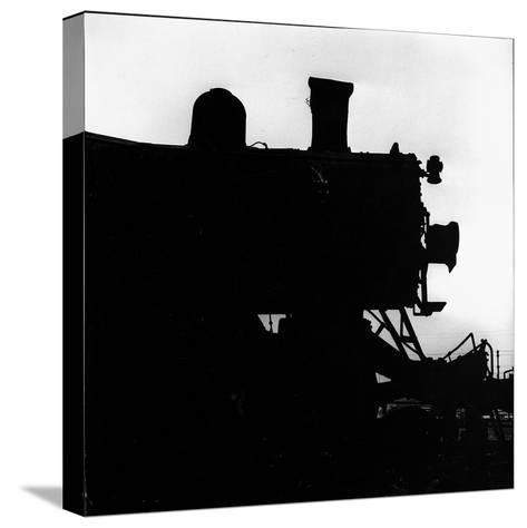 Silhouette of Last of the Steam Locomotives of Norfolk Western Railroad-Walker Evans-Stretched Canvas Print
