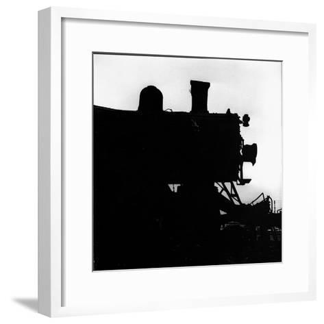 Silhouette of Last of the Steam Locomotives of Norfolk Western Railroad-Walker Evans-Framed Art Print