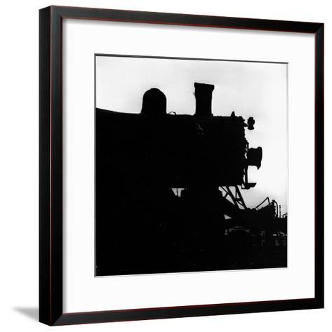 Silhouette of Last of the Steam Locomotives of Norfolk Western Railroad-Walker Evans-Framed Art Print