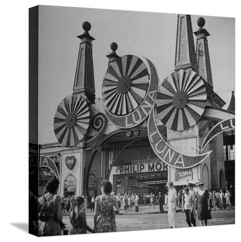 Entrance to the Luna Amusement Pavilion at Coney Island Amusement Park-Marie Hansen-Stretched Canvas Print